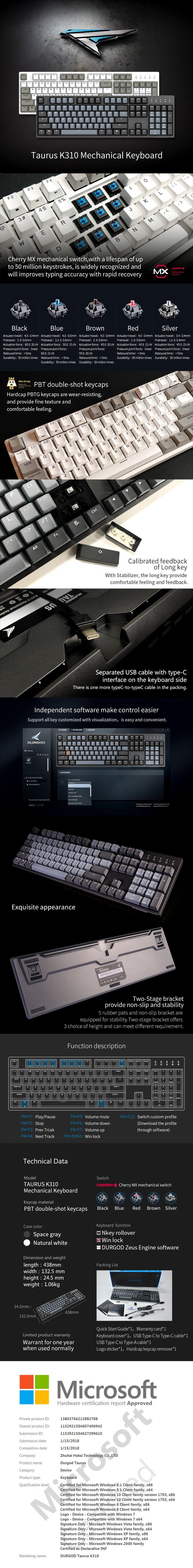 Durgod Taurus K310 Keyboard CherryMX Switch Features