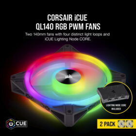 CORSAIR iCUE QL140 RGB Fan – Dual Fan Kit With Lightning Node CORE 2