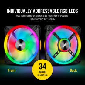 CORSAIR iCUE QL140 RGB Fan – Dual Fan Kit With Lightning Node CORE 3