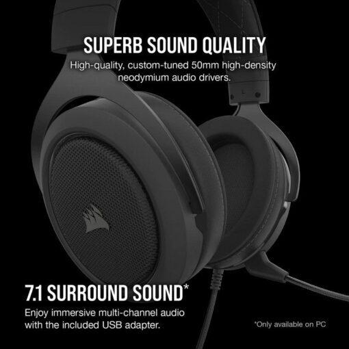 CORSAIR HS60 PRO SURROUND Gaming Headset Carbon 3