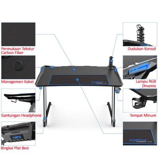 DXRacer NEX Computer Gaming Desk – Black Blue 2