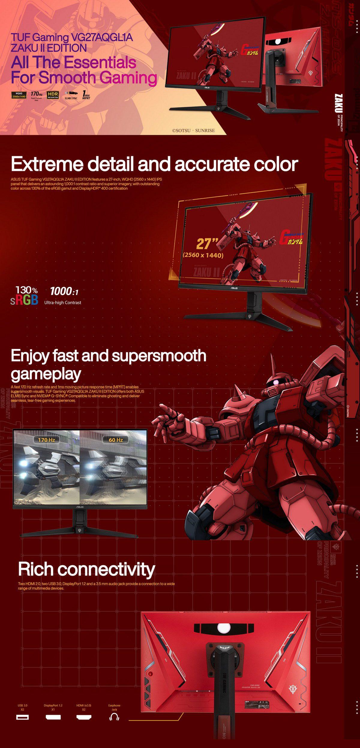 ASUS TUF Gaming VG27AQGL1A GUNDAM ZAKU II EDITION Monitor Featured