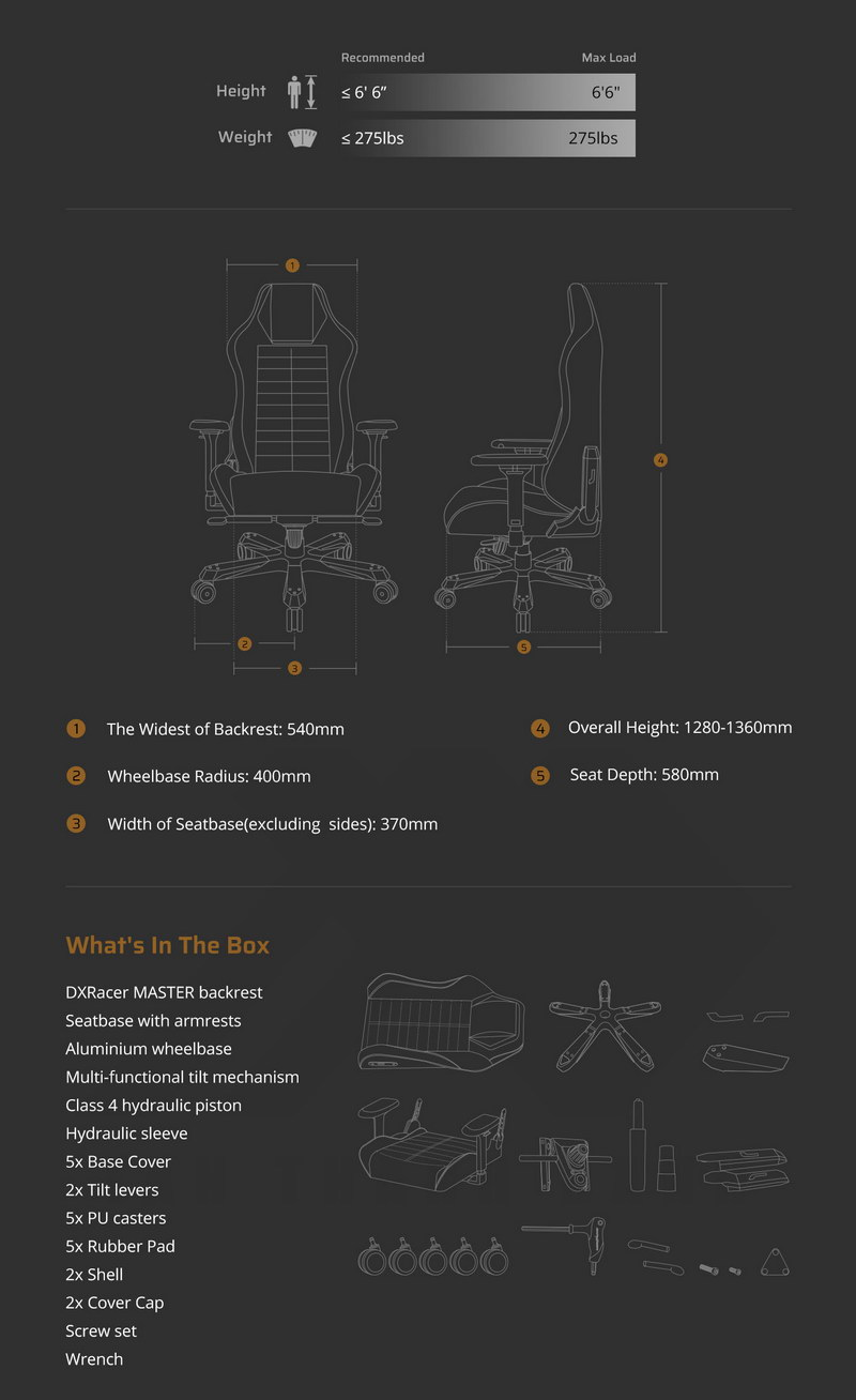 DXRacer MASTER DM1200 DMCIA233S Gaming Chair Specs