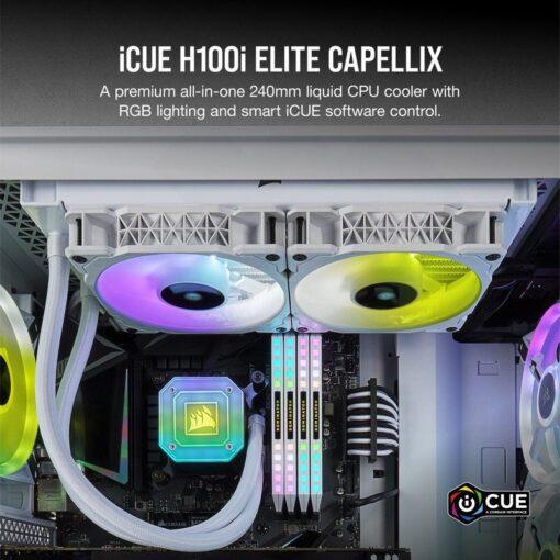 CORSAIR iCUE H100i ELITE CAPELLIX WHITE Liquid CPU Cooler 2