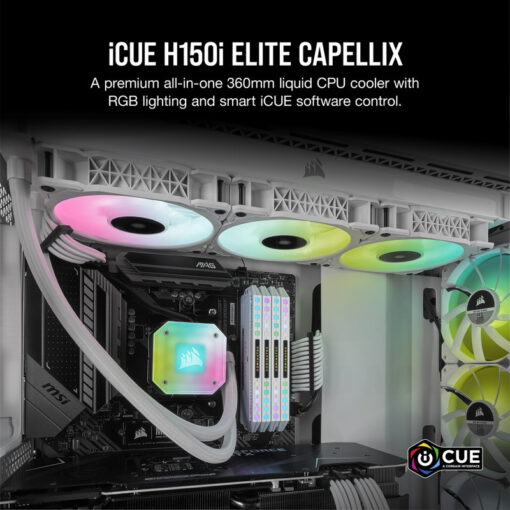 CORSAIR iCUE H150i ELITE CAPELLIX WHITE Liquid CPU Cooler 2
