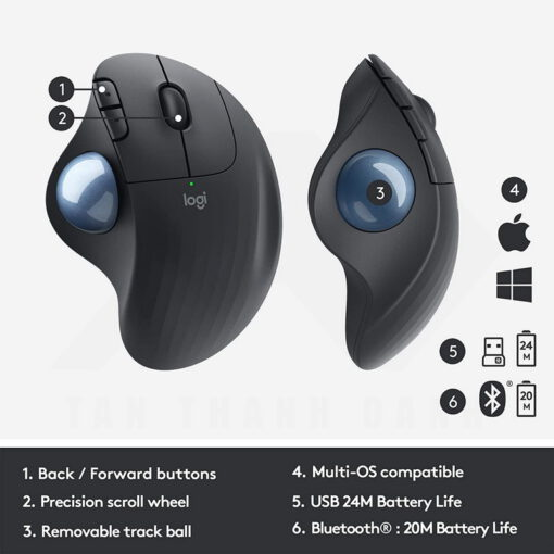 Logitech Ergo M575 Wireless Trackball Mouse – Black 6