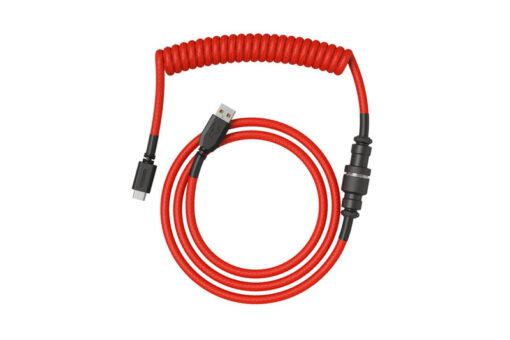 Glorious Artisan Coiled Keyboard Cable – Crimson Red USB C 2